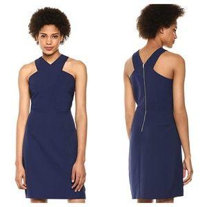 SAM EDELMAN Criss Cross Neck Sheath Dress Blue M27